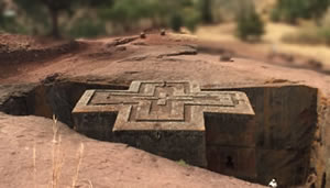 The Church of St. George in Lalibela, Ethiopia. The 13th-century structure is carved from solid rock.