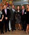 The Rosenkranz family poses with University representatives. Left to right: Ian Shapiro; Susan Stokes; Stephen Hessler (son-in-law); Nicholas Quinn Rosenkranz '92, '99 J.D. (son); Alexandra Munroe; Robert Rosenkranz; Stephanie Hessler (daughter); and Peter Salovey.